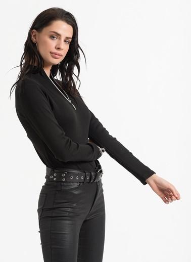 Styletag Fermuarlı Bluz Siyah
